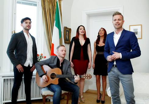 Nicky Byrne performing song 'Sunlight'