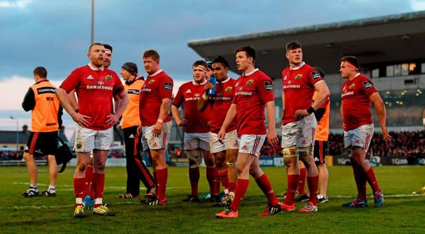 Dejected Munster players after conceding a third try in their Pro12 match against Connacht at the Sportsground in Galway last month. Photo: Stephen McCarthy / Sportsfile