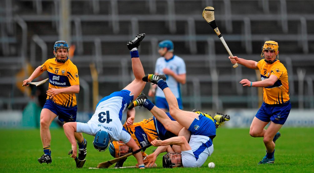 Jamie Barron, right, and Patrick Curran in action against Oisín O Brien (SPORTSFILE)
