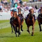 Viren's Army, with Silvestre De Sousa up (sky blue cap) on the way to winning The Betdaq Dee Stakes at Chester. Photo: Alan Crowhurst/Getty Images