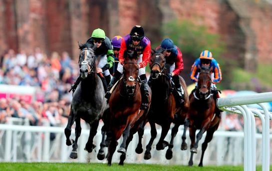 Dartmouth, with Ryan Moore up, on the way to winning the Ormonde Stakes at Chester yesterday. Photo: David Davies/PA Wire