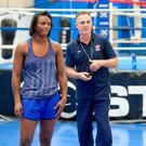 Head coach of USA Boxing Billy Walsh pictured with USA Olympic boxing champion Claressa Shields