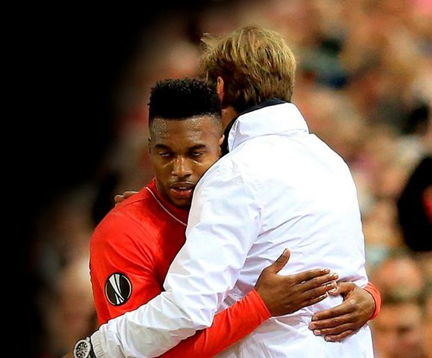 Liverpool manager Jurgen Klopp celebrates with Daniel Sturridge after victory over Villareal in the Europe League semi-final. Photo: Nigel French/PA Wire