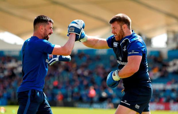 Leinster's Sean O'Brien takes part in some boxing training with Cillian Reardon, strength & conditioning coach. Photo: Stephen McCarthy / Sportsfile