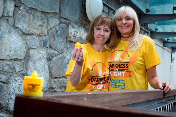 Joan Freeman, Founder of suicide and self-harm crisis centre Pieta House, joined by Broadcaster Miriam O'Callaghan at the launch of Darkness Into Light 2016 in association with Electric Ireland in The Pearse Centre in Dublin. Picture: Arthur Carron