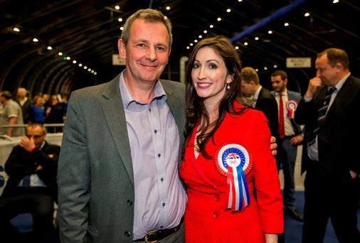 Newly elected DUP MLA for Belfast South, Emma Little Pengelly with her husband Richard Pengelly at the Titanic Exhibition Centre in the Northern Ireland Assembly Elections. Liam McBurney/PA Wire