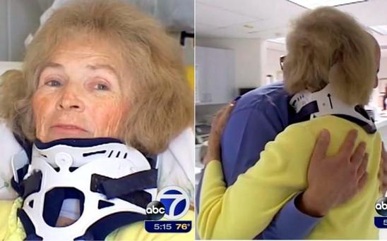 She hugged her doctor after her surgery CREDIT: ABC