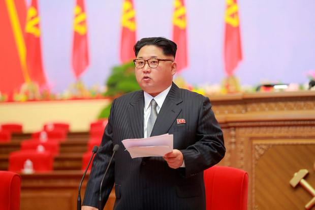 North Korean leader Kim Jong Un speaks during the first congress of the country's ruling Workers' Party in 36 years in Pyongyang, in this handout photo provided by KCNA on May 6, 2016. KCNA/via Reuters