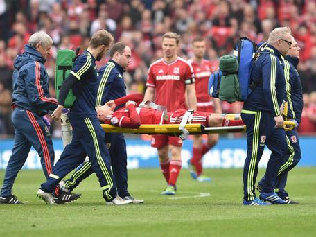 Gaston Ramirez is carried off with injury during Middlesbrough's 1-1 draw with Brighton PA