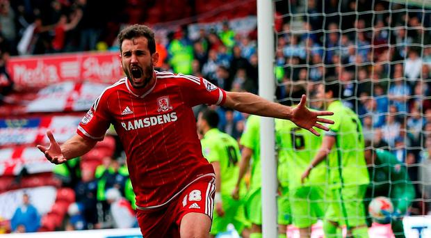 Cristhian Stuani of Middlesbrough celebrates scoring during the Sky Bet Championship match between Middlesbrough and Brighton and Hove Albion at the Riverside Stadium
