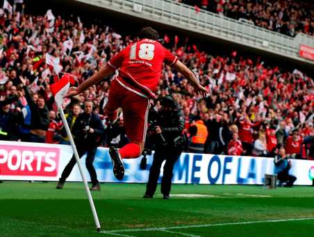 Cristhian Stuani of Middlesbrough celebrates scoring during the Sky Bet Championship match between against Brighton and Hove Albion at the Riverside Stadium. (Photo by Nigel Roddis/Getty Images)
