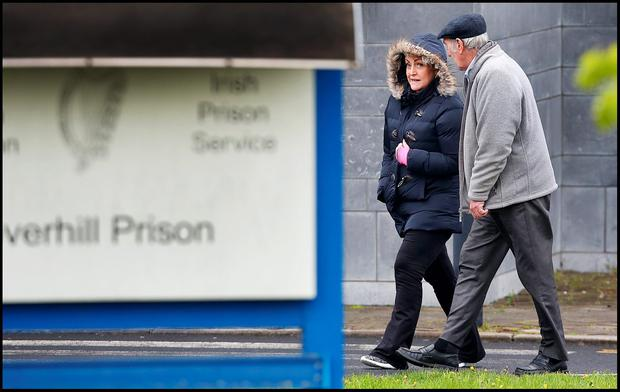 Audrey Mahon leaving Clover Hill Prison at lunchtime Saturday after visiting her husband David Mahon. She was accompanied on the visit by David Mahon's Father Michael. Pic Steve Humphreys