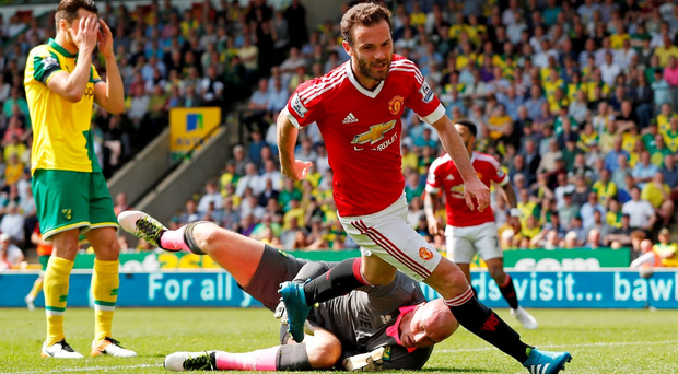 Juan Mata celebrates scoring the first goal for Manchester United. Action Images via Reuters / John Sibley