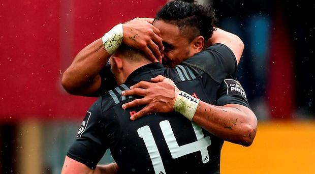Francis Saili, Munster, celebrates with team-mate Andrew Conway after scoring his side's first try. Guinness PRO12, Round 22, Munster v Scarlets. Thomond Park, Limerick. Picture credit: Diarmuid Greene / SPORTSFILE