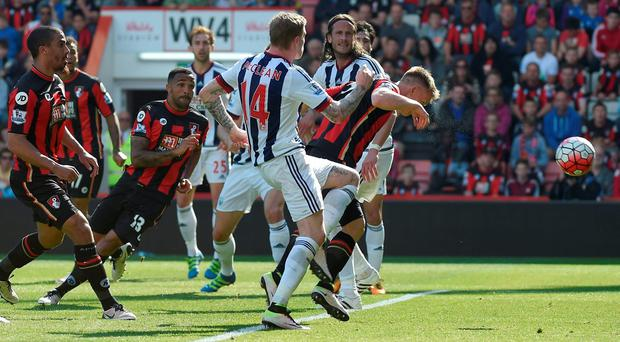 Matt Ritchie scores the late equaliser for Bournemouth Reuters / Toby Melville