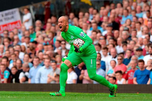 West Ham United goalkeeper Darren Randolph shows his frustration after seeing his side go 2-0 down