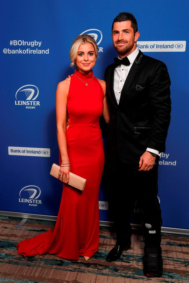 Leinster's Rob Kearney and Jess Redden