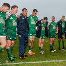 Pat Lam talks to his players after their victory over Glasgow Warriors at the Sportsground yesterday. Photo: Seb Daly/Sportsfile