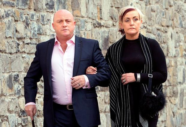 Dave Mahon and Audrey Fitzpatrick, mother of Dean Fitzpatrick, arriving at The Criminal Courts. Photo: Tony Gavin