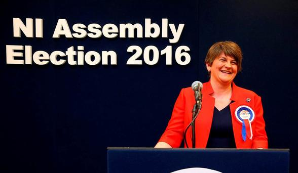 The DUP has replicated its historic performance of 2011 by again winning 38 seats — a strong validation of the recently appointed party leader Arlene Foster. Photo: Brian Lawless/PA Wire