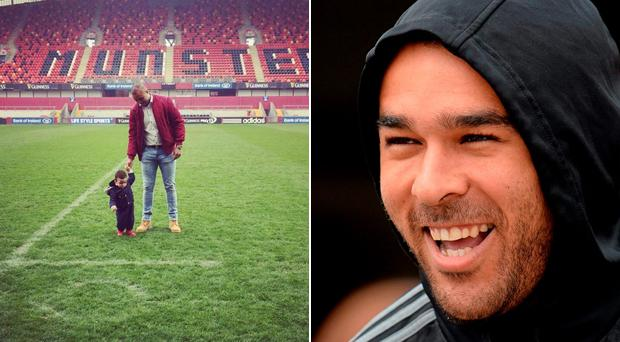 Simon Zebo brought his son Jacob out onto the pitch at Thomond Park yesterday