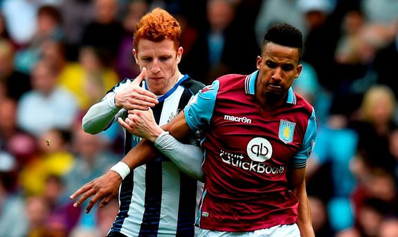Jack Colback in action against Scott Sinclair yesterday at Villa Park