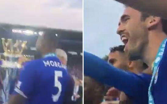 Christian Fuchs showed us all what it's like to lift the Premier League trophy