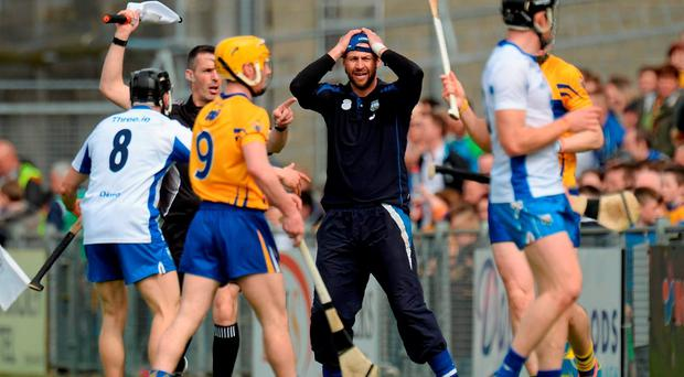 Waterford selector Dan Shanahan reacts during the drawn game. Allianz Hurling League Division 1 Final, Clare v Waterford. Semple Stadium, Thurles, Co. Tipperary. Picture credit: Piaras Ó Mídheach / SPORTSFILE