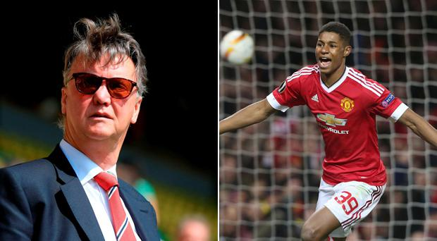 Louis van Gaal and Marcus Rashford