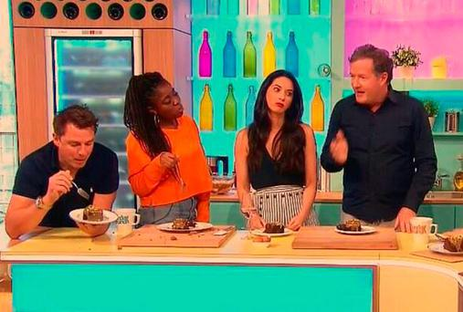 Olivia Munn looks a bit bored on Sunday Brunch