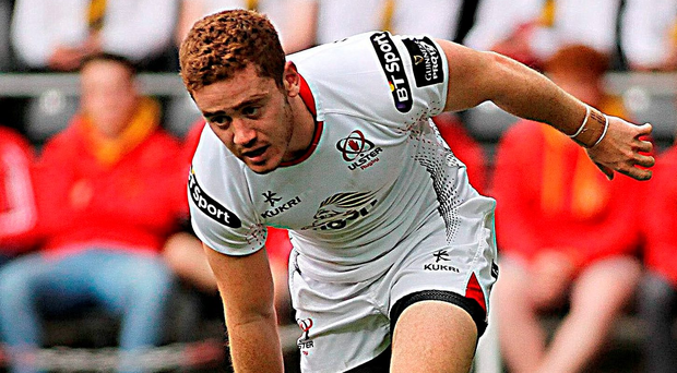 Ulster's Paddy Jackson goes over to score a try for his side at the Liberty Stadium, Swansea. Photo: Ben Evans / Sportsfile