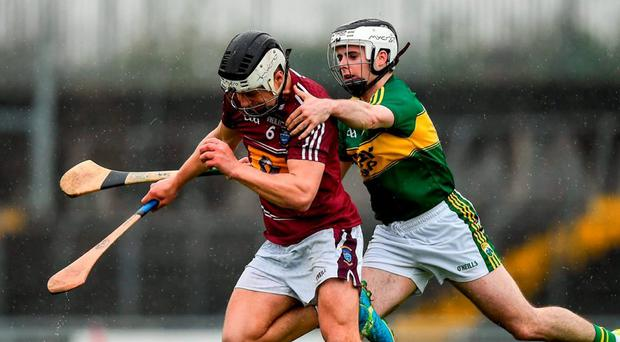 Westmeath's Gary Greville battles for possession with Kerry's Jack Goulding. Photo: Ray McManus / Sportsfile
