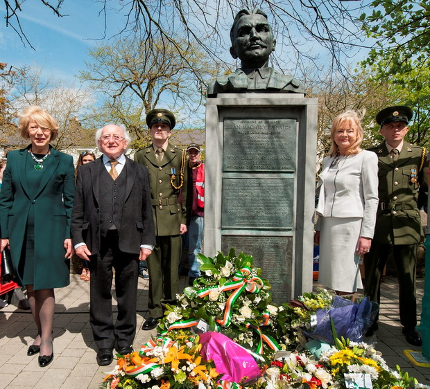President Michael D Higgins and his wife Sabina with Mary McBride Walsh (right) a grand-niece of Major John McBride at the 1916 commemorations in Westport, Co Mayo, yesterday Photo: Michael Mc Laughlin