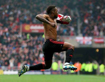 Jermain Defoe celebrates after scoring the winner for Sunderland. Photo: Russell Cheyne/Reuters
