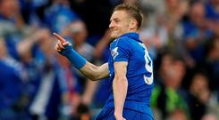 Jamie Vardy celebrates scoring the third goal for Leicester from the penalty spot during the match against Everton. Photo: Carl Recine/Reuters