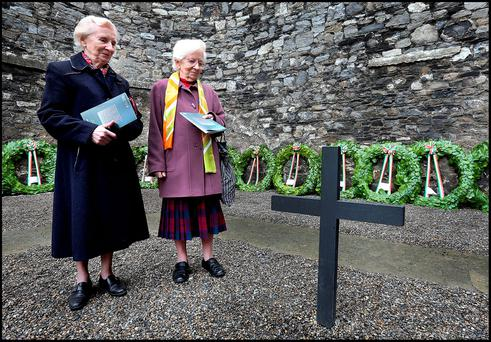 Con Colbert's neices Sr Christine Colbert, from the Sisters of St Louis, Carrickmacross, and Sr Nora Colbert, from the Sisters of the Holy Rosary, Cavan, at the Stonebreakers' Yard in Kilmainham Gaol yesterday Photo: Steve Humphreys