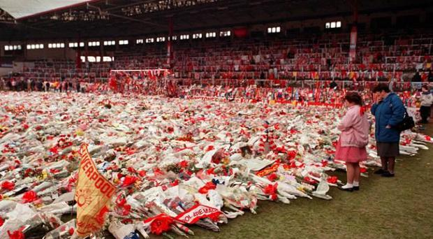 Never forget: flowers, wreaths and tributes left at Liverpool's Anfield stadium in 1989