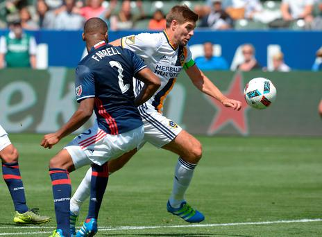 Los Angeles Galaxy midfielder Steven Gerrard in action against New England Revolution last night