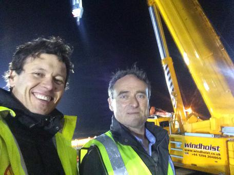 Anton Savage with David McGowan, who transported a Boeing 767 to Enniscrone this weekend