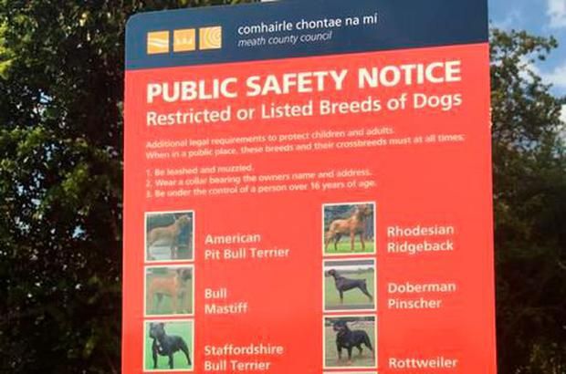 Alan Tobin had signs erected in his constituency reminding the public about rules regarding listed/restricted dog breeds