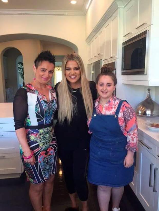 Abby pictured with her proud mum and Khloe Kardashian