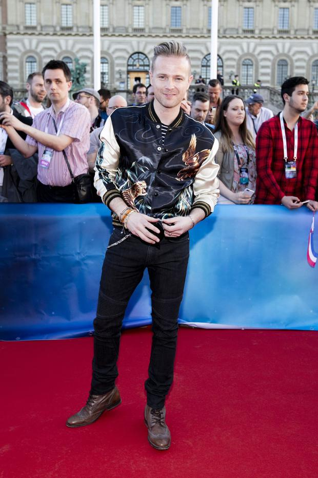 Nicky Byrne walks the Eurovision red carpet. Photo: Andres Poveda / RTE