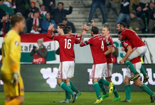 Hungary celebrate the second goal during the UEFA EURO 2016 qualifier play-off second leg match between Hungary and Norway