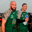 Connacht captain John Muldoon, left, and Robbie Henshaw leave the field after the victory over Glasgow Warriors. Photo: Sportsfile