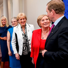 Taoiseach Enda Kenny with, right to left, Frances Fitzgerald, Heather Humphreys, Katherine Zappone and Mary Mitchell O'Connor. Fitzgerald was the only woman visible during government formation talks. Photo: @merrionstreet