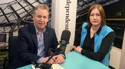 Irish Independent's Paul Williams in studio with Antoinette Cunningham, AGSI President. Picture credit; Damien Eagers 5/5/2016