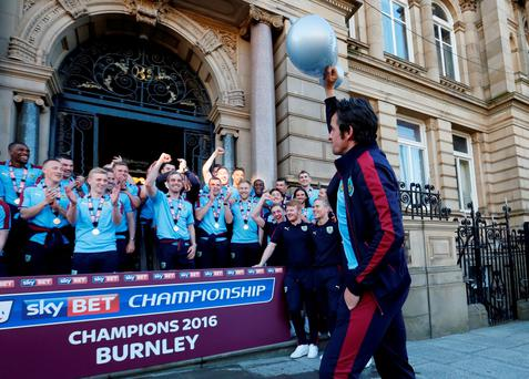 Burnley's Joey Barton celebrates with a blow up trophy after winning the Sky Bet Football League