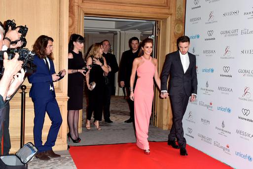 Cheryl Fernandez-Versini and Liam Payne arrive to the Global Gift Gala Photocall at the Hotel Georges V on May 09, 2016 in Paris, France