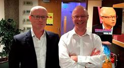 Dan O'Brien (left) and Stephen Donnelly (right) before the show