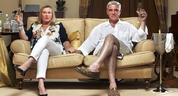 Steph and Dom of the UK series of Gogglebox. Photo: Channel 4